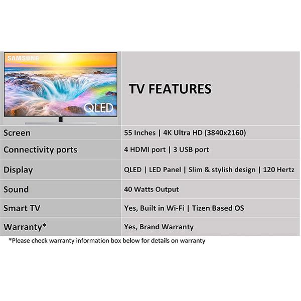Samsung 138 cm 55 Inches 4K Ultra HD Smart QLED TV QA55Q80RAKXXL Black 2019 Model