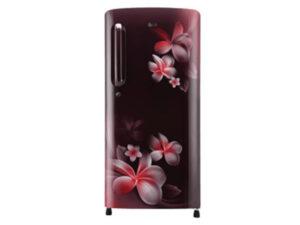 LG 190 L 4 Star Inverter Direct-Cool Single Door Refrigerator GL-B201ASPY, Scarlet Plumeria, Fastest Ice Making