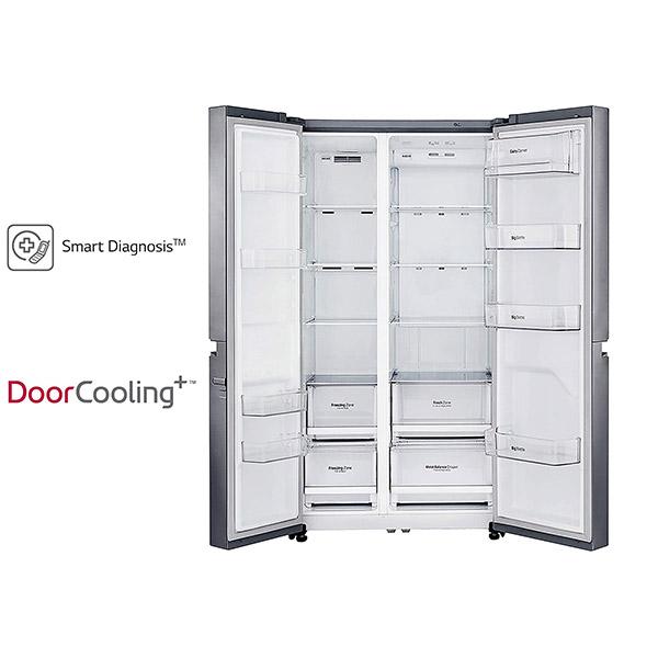 LG 687 L Frost Free Side-by-Side RefrigeratorGC-B247SLUV.APZQEBN, Platinum Silver, Inverter Compressor