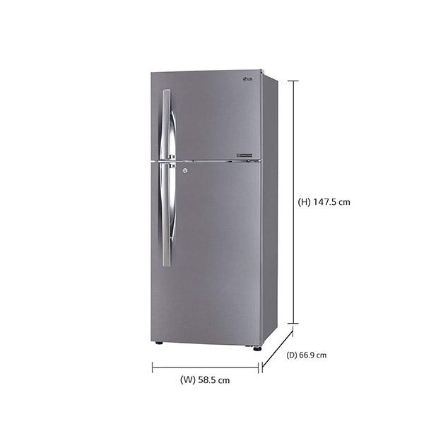 LG 260 L 2 Star Inverter Frost-Free Double-Door Refrigerator GL-C292RPZY, Shiny Steel