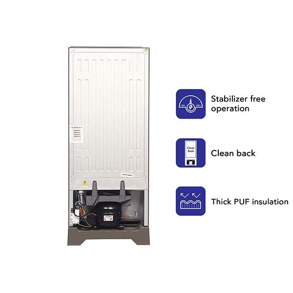 Haier 195 L 4 Star Direct-Cool Single Door Refrigerator (HRD-1954PSG-E, Black Spiral Glass)