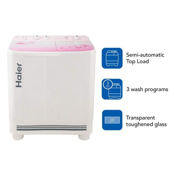 Haier 9 Kg Semi-Automatic Top Loading Washing Machine HTW90-1159FL, Pink Floral
